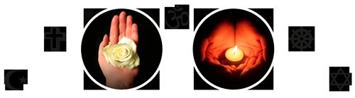 Mahasamadhi: bloem en kaars offeren